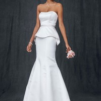 Satin Trumpet Wedding Gown with Beaded Waist - David's Bridal