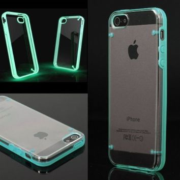 EVERMARKET(TM) Luminous Style Glowing Hard Bumper Skin Back Case Cover For iPhone 5 5G 5th Blue