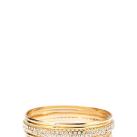 FOREVER 21 Rhinestone Accent Bangle Set Gold/Clear Med/Lg