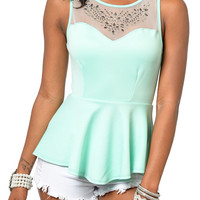 Mint Flirty Sheer Mesh Jeweled Sleeveless Peplum Top