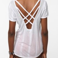 Daydreamer LA Ribbed Knit Cross-Back Tee