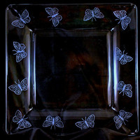 Hand Engraved Etched Glass Square Butterfly Plate by SeventhChild