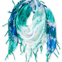 Aeropostale Womens Tie-Dye Fringed Handerkerchief Scarf - Blue, One