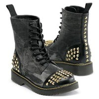 Denim Studded Combat Boot - Gia Mia