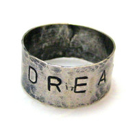 Sterling Silver Metal Work Stamped DREAM by silverriverjewelry