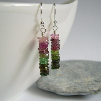 Tourmaline Earrings , Watermelon Tourmaline Beads, Sterling Silver , Medium Earrings