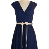 ModCloth Cap Sleeves A-line Champagne at Midnight Dress in Navy