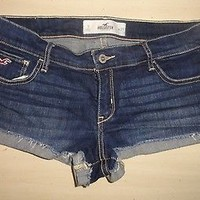 Hollister Low-Rise Cuffed Jean Short-Shorts Size 9 W29 Dark Blue