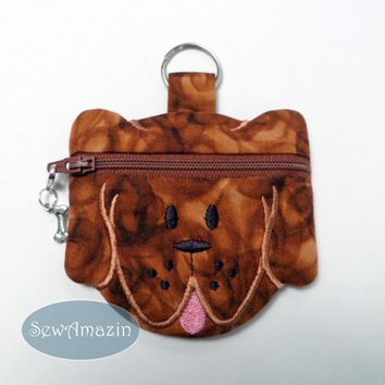 Cinnamon Brown Doxie Puppy Dog Coin Purse Key Fob