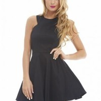 Cut In Neck Plain Kick Out Skater Black Dress