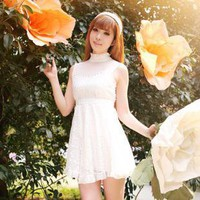 Collar net yarn splicing thin lace dress
