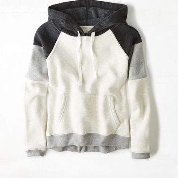 AEO Women's Colorblock Hoodie (Heather Grey)