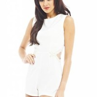 Mesh Cut Out Trim Cream Romper
