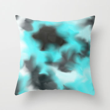 Black-teal Magic Throw Pillow by ProArte