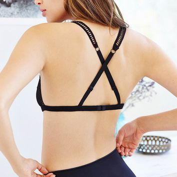 Silence + Noise Ladder-Trim Triangle Bra- Black