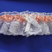 Lace Garter Peach Wedding Garter Peach Bridal by Hoalanebridal