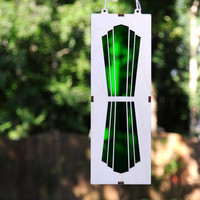 Art Deco Suncatcher in Bright Green using Natural Plywood and Green Acrylic