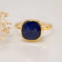 Stackable Ring  Blue Sapphire Ring Gemstone Ring   by delezhen