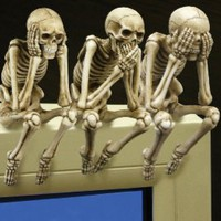 See Hear Speak No Evil - Computer Monitor Topper Skeletons