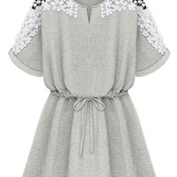 Highly Recommended Crochet Lace Paneled Dress - OASAP.com