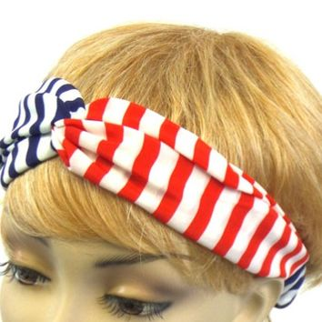 Red White and Blue Striped Stretch Headband