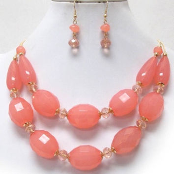 Coral Facet Bead Double Layer Necklace/Earring Set