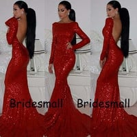 prom dresses 2014 new arrival.sequins mermaid prom dresses.red sequined dresses.long sleeves prom dresses.backless prom dresses.sexy prom