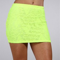 Neon Yellow Lace Skirt :: www.windsorstore.com