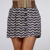 Navy/White Button Front Skirt