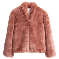H&M - Faux Fur Jacket - Pink - Ladies