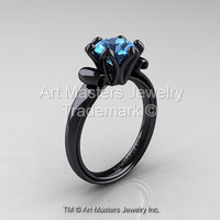 Modern Antique 14K Black Gold 1.5 Carat Swiss Blue Topaz Solitaire Engagement Ring AR127-14KBGSBT