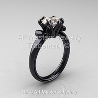 Modern Antique 14K Black Gold 1.5 Carat Morganite Solitaire Engagement Ring AR127-14KBGMO