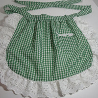 New Handmade Children's apron green white by purrfectstitchers