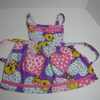 Handmade Children's bib apron Pink Purple by purrfectstitchers