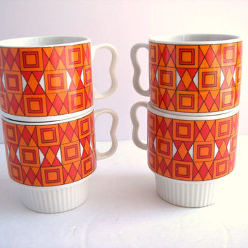 Mod Geometric Mugs in Orange and White-Vintage Cups Set of 4