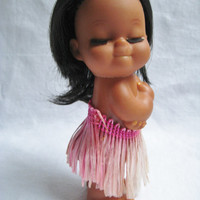 Vintage Doll Island Hawaii Hula Grass Skirt  Black Rooted Hair Eyelashes Dark Skin Tan Clean 1970s