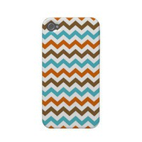 Orange and Aqua Zig Zag Chevrons Pattern Iphone 4 Cases from Zazzle.com