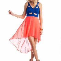 cut-out chiffon two-fer dress $40.90 in ROYALNCRL TAUPEYLW - High-Low | GoJane.com