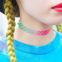Rainbow 90's tattoo choker