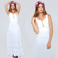 Vintage 70s PRAIRIE Maxi Dress White LACE Trim Corset Boho WEDDING Dress Hippie Sundress