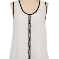 Zip back chevron embroidered trim tank
