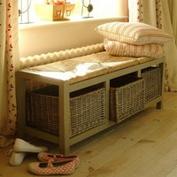 Large Wicker Storage Seat
