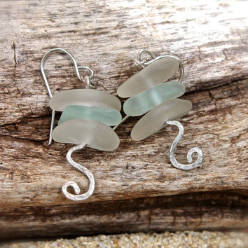 Sea Glass Earrings - Boho Beach Bride Jewelry from Hawaii - Seaglass Jewelry - Bohemian Earrings - Boho Sea Glass Jewelry made in Hawaii