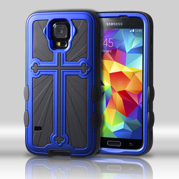 Metallic Cross Hybrid Protector Case for Galaxy S5 - Titanium Blue