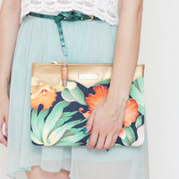MIDSUMMER / Floral cotton & Gold leather clutch bag - Ready to Ship