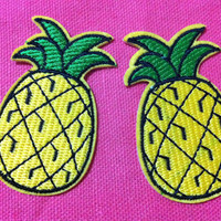 Lot Of 10 Pieces Pineapple (3.5 x 6 cm) Embroidered Iron on Applique Patch (HR)