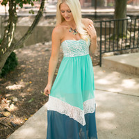 mint and navy lace maxi dress