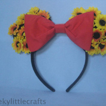 Red/Black Bow Mickey Ears