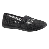 black tanya lace slip on flat