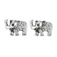 elephant stud earrings with rhinestones